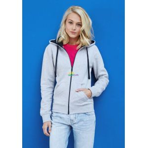 KA467 - LADIES' CONTRAST HOODED FULL ZIP SWEATSHIRT